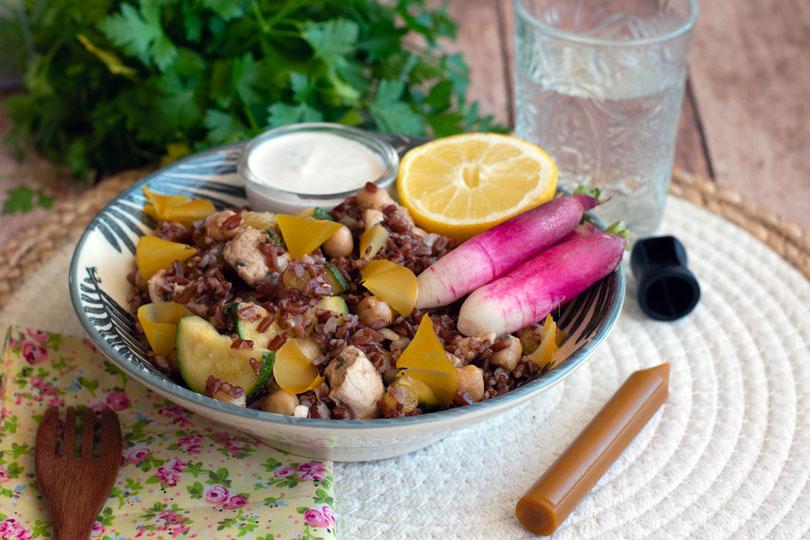 recette Salade de riz poulet curry curcuma