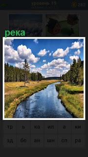 протекает река с берегами и растительностью на них