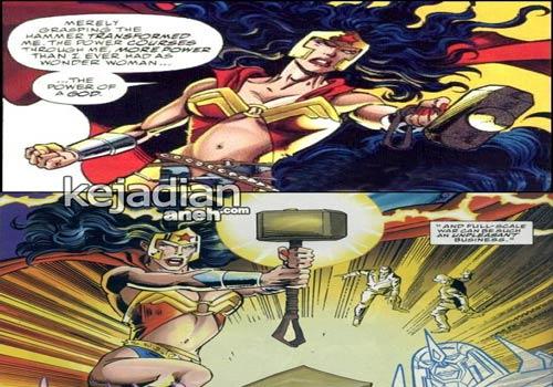 Wonder Woman with a hammer Mjolnir 8 Tokoh Superhero yang Bisa Mengangkat Palu Thor