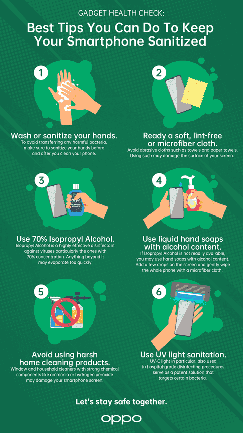An infographic showing simple and easy-to-do tips to keep your smartphone and gadgets sanitized