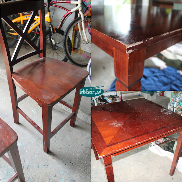 before free table and chair fixer upper makeover painted diy farmhouse style