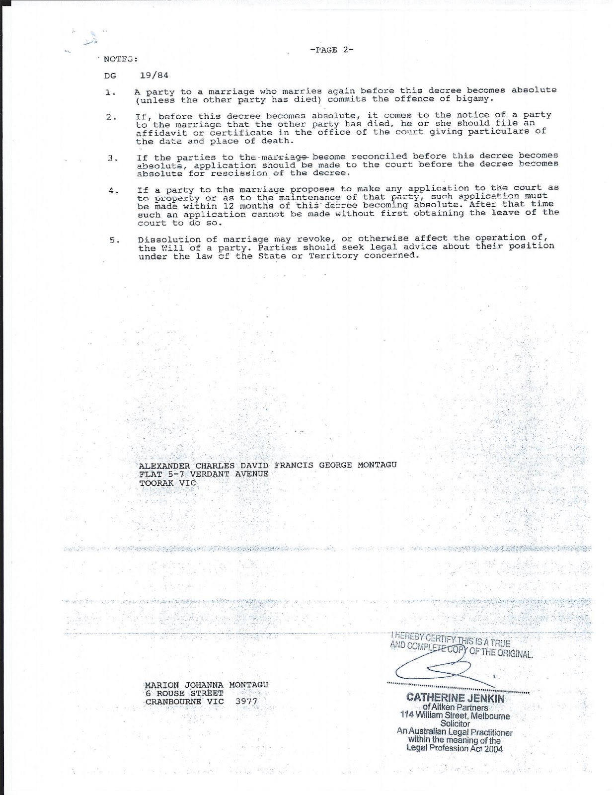 The Duke and Doxie of Manchester 1996 Divorce Documents – Prank Divorce Papers