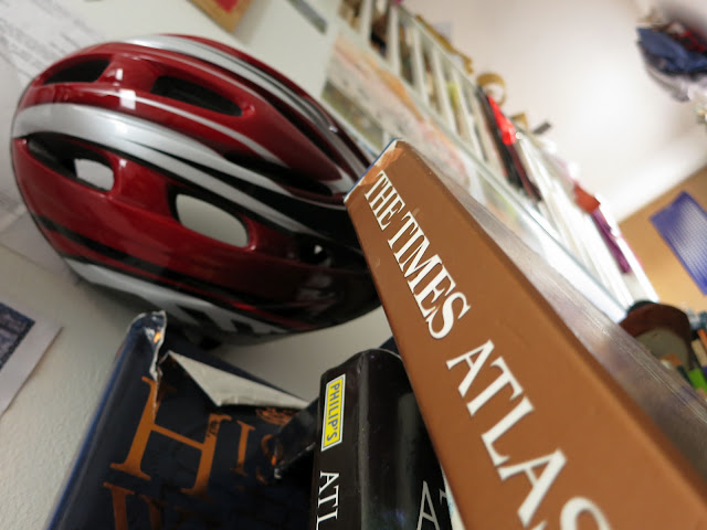 Red Bike Helmets and Map Books