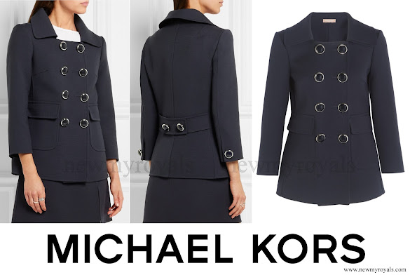 Princess Charlene wears MICHAEL KORS Double breasted wool crepe blazer