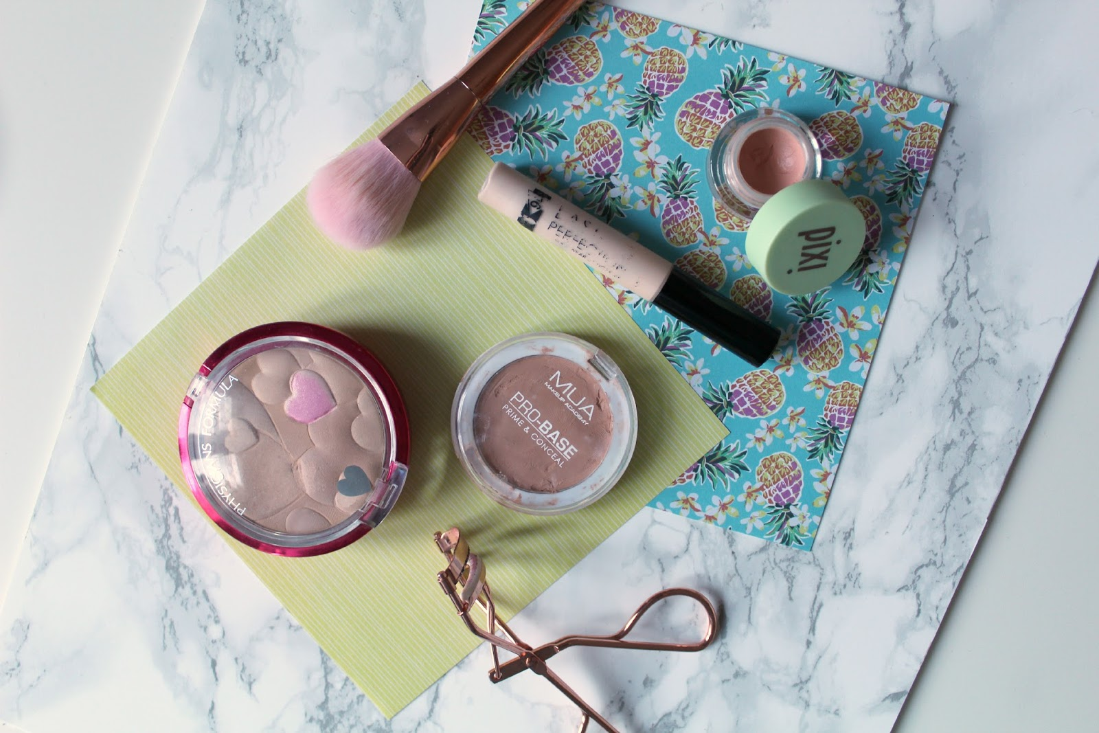 correcting tired eyes, flatlay, pixi colour concentrate, physician's formula happy boost powder, mua pro-base prime and conceal, collection lasting perfection concealer