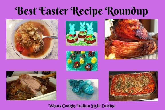 This is a photo of little assortment of what is in the blog post. Clips of lasagna, soup, leg of lamb, ham and Easter desserts, cookies