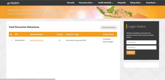 Hasil Pencarian Mahasiswa web PDPT