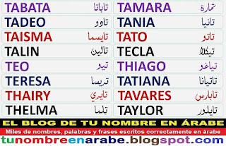 Nombre en letras arabes: Teresa, Tania, Tadeo, Tato