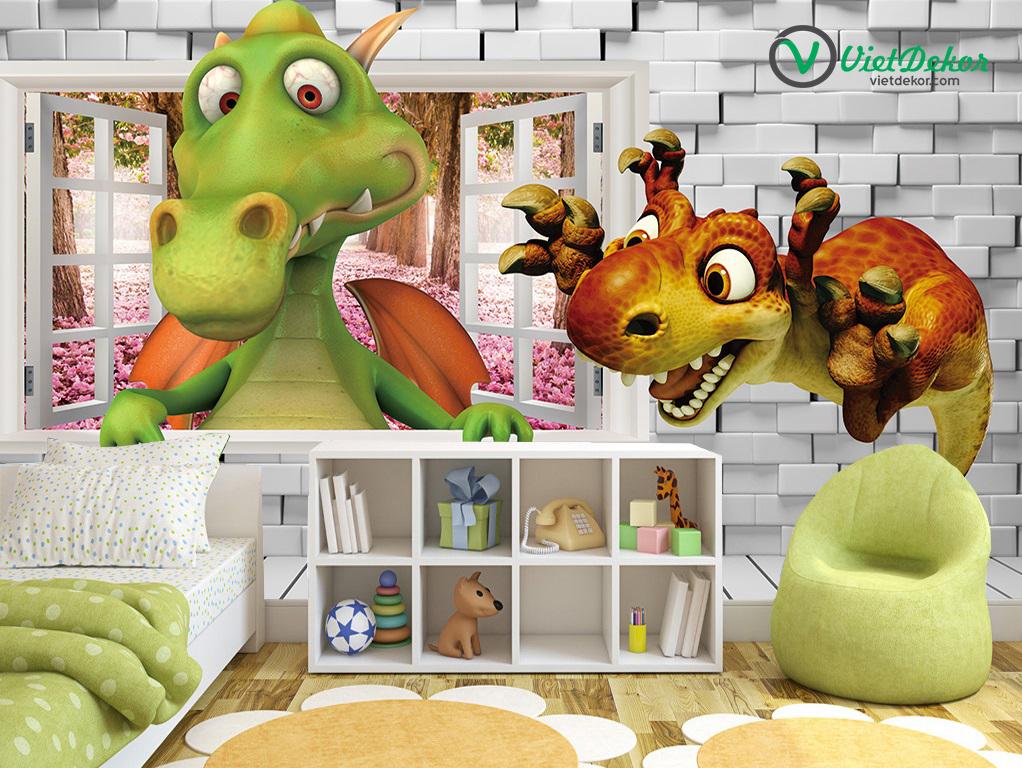 Tranh dán tường 3d  khủng long  phòng ngủ của bé