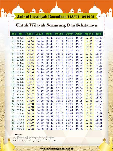 Jadwal Imsakiyah Semarang 2016 1437 H