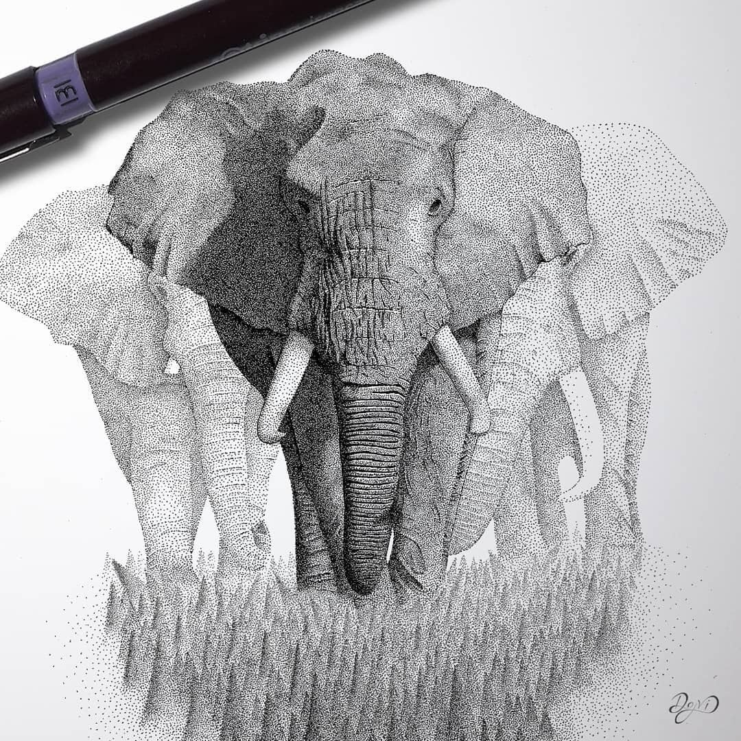 12-March-of-the-Elephants-Dejvid-Stippling-Illustrator-using-Dots-to-Draw-www-designstack-co