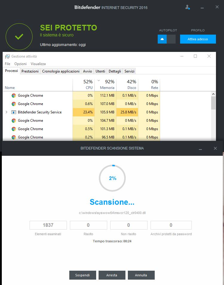 Recensione Bitdefender Internet Security memoria ram richiesta scansione