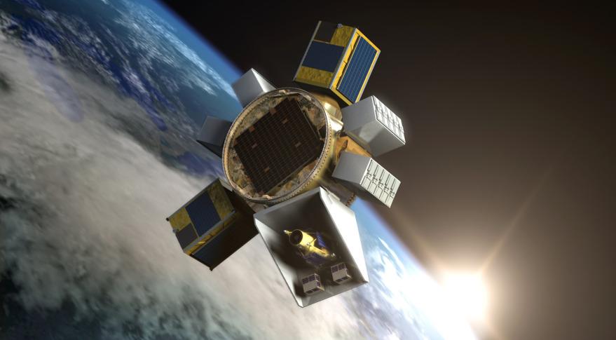 Đồ họa vệ tinh Formosat-5 khi hoạt động ở quỹ đạo Trái Đất. Hình ảnh: NSPO.