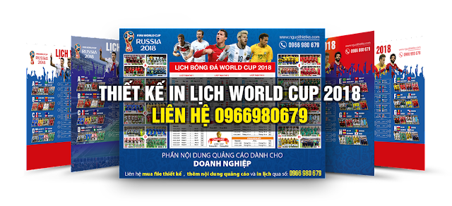 Thiết kế in lịch world cup 2018