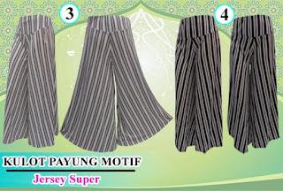 Celana kulot model payung motif salur
