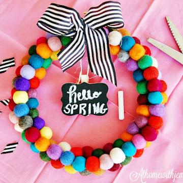 Hello Spring Felt Pompom Wreath