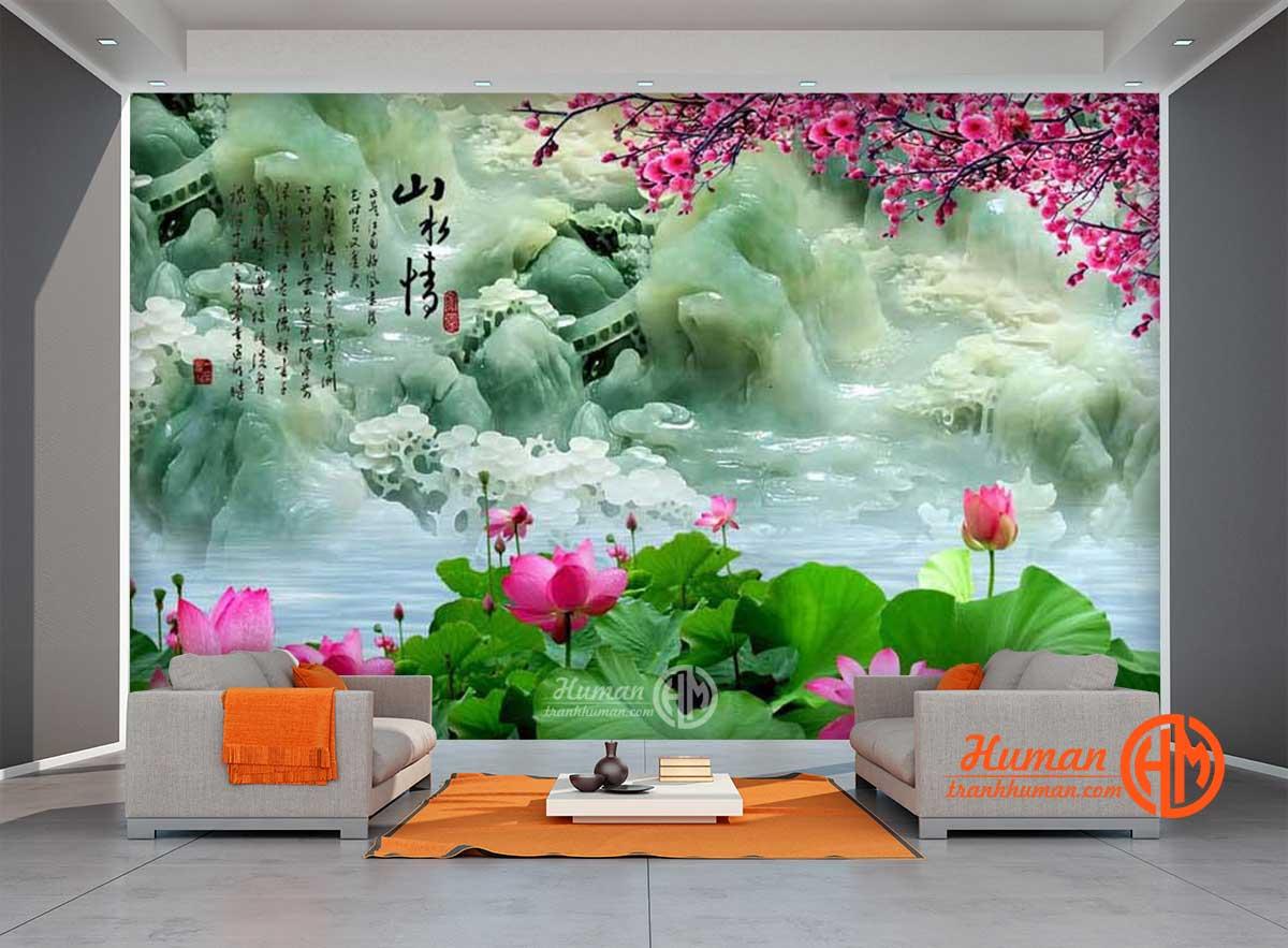 Tranh dán tường ngọc 3d hoa sen