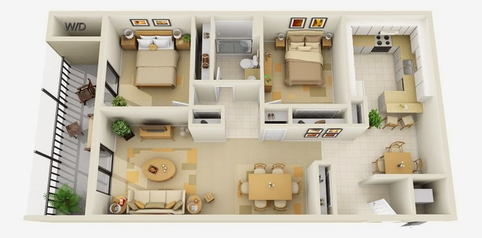 Amazing 3D House Plans With Furniture Details Collection 1