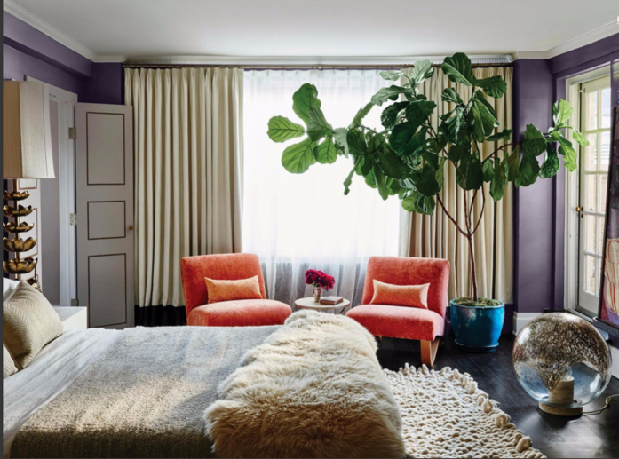 Layered and cozy bedroom with beautiful fiddle leaf fig via design addict mom-photography- Douglas Friedman