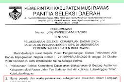 Jadwal Seleksi SKD CPNS Kabupaten Musi Rawas PDF