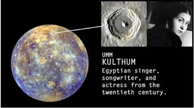 حفرة على كوكب عطارد بإسم أم كلثوم - مدونة الفلك للجميع