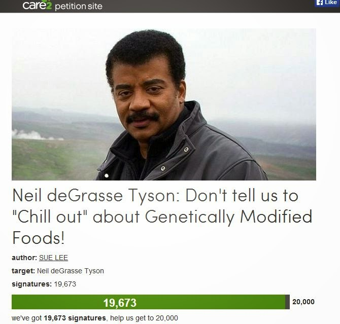 Anti-GMO activists petition Neil deGrasse Tyson to stop speaking scientifically about GMOs