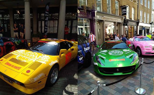 Gelber Vintage Ferrari, grüner Ferrari Superfast und rosa RollceRoyce auf Gumball 3000 Launch in London 2018