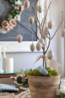 antiqued Easter egg tree
