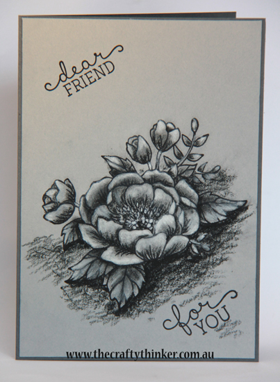 SU, Birthday Blooms, monochrome card, grey card, sketchbook look stamping