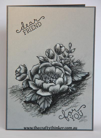 SU, Birthday Blooms, monochrome card, grey card, sketchbook look stamping