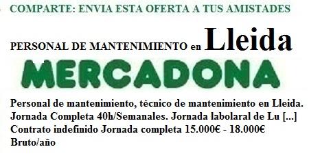 Lleida, Lanzadera de Empleo Virtual, Oferta Mercadona