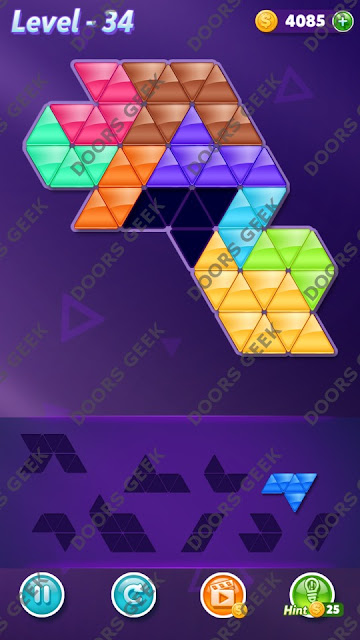 Block! Triangle Puzzle Proficient Level 34 Solution, Cheats, Walkthrough for Android, iPhone, iPad and iPod