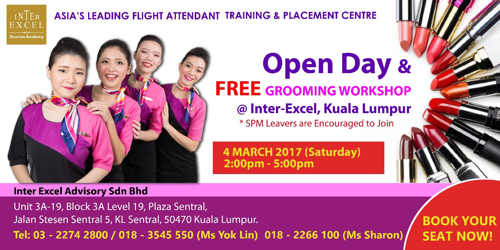 Inter Excel Malaysia Airline Training Placement Centre Inter Excel Open Day Free Grooming Workshop