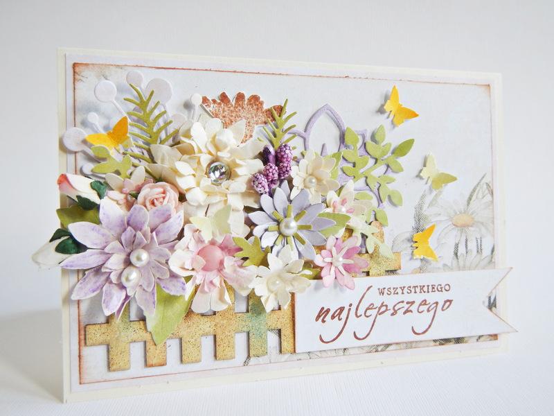 Kartka z handmade z kwiatami