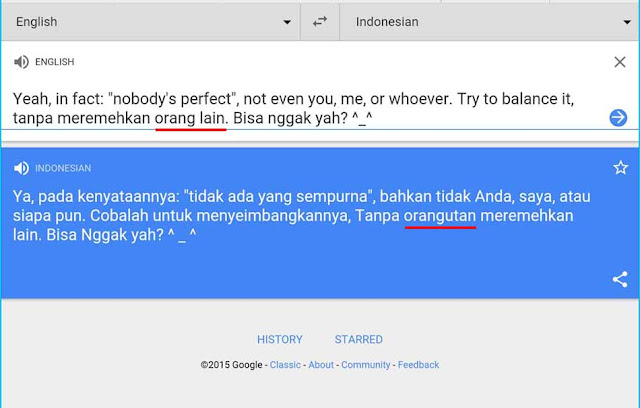 Ya Ampun Google Translate, Kenapa Orangutan Bisa Ada Disitu? - Mari Berhipotesis