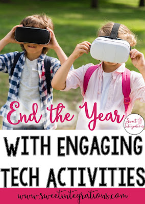 If you're on the lookout for great ideas to end the year with technology, THIS is the post for you. Click through to find many great ideas, tips, and resources you can use with your 1st, 2nd, 3rd, 4th, 5th, and 6th grade classroom or elementary students. Flippity, scavenger hunts, keyboard races, virtual field trips, digital brochures, memory books, project based learning (PBL), collages, vision boards, app ideas, and more are all included! {first, second, third, fourth, fifth, sixth graders}