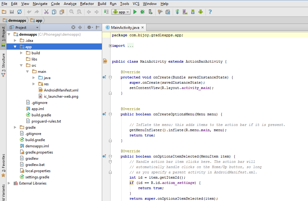 How to create gradle build project in using android studio 18