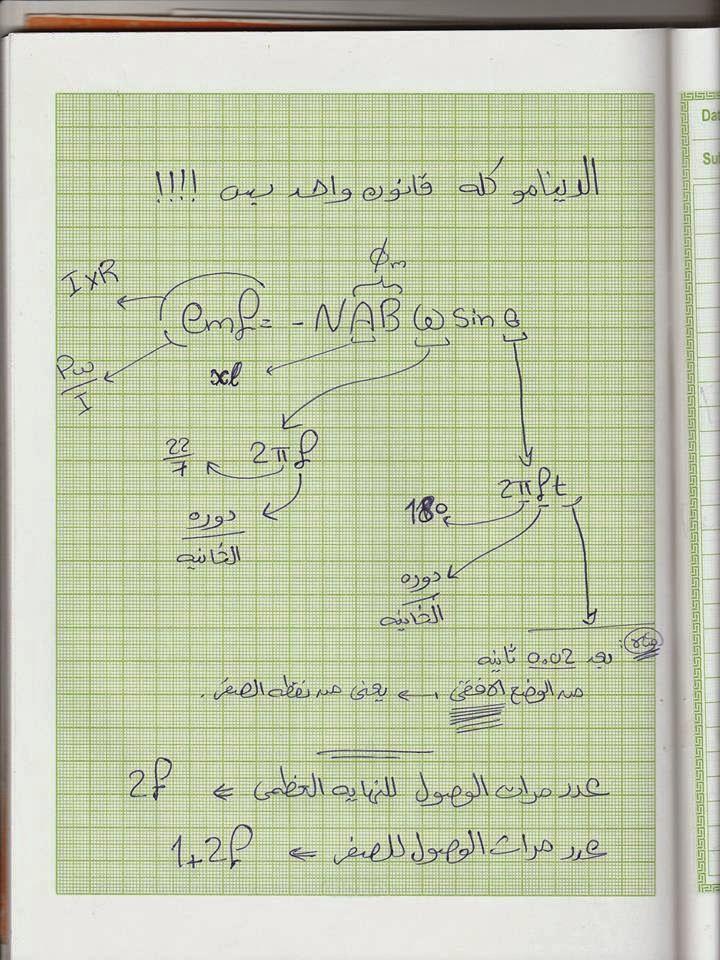 افكار مسائل الدينامو في الفيزياء للثالث الثانوي