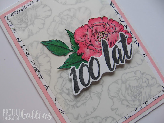 ProjectGallias dla Agateria Craft - Kartka z peoniami i napisem 100 lat - #projectgallias, kartka, stempel peonie, stempel 100 lat, kwiaty