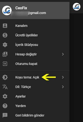 Youtube koyu ve açık tema arasında geçiş yap:-www.ceofix.com