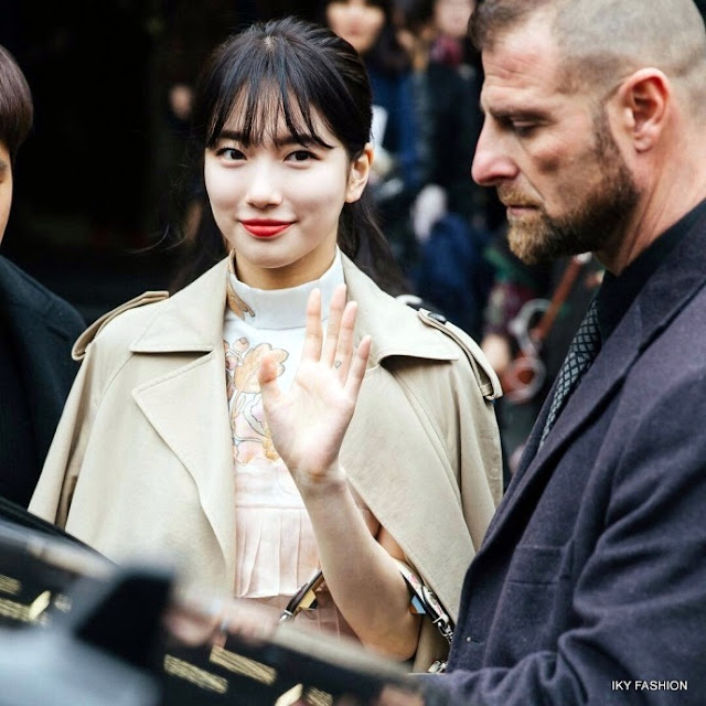 Suzy menghadiri acara fashion Internasional di kota Milan