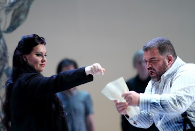 Liudmyla Monastyrska as Abigaille and Dimitri Platanias in the title role of Nabucco (ROH) © Catherine Ashmore