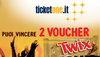 Logo Twix e Ticketone 2017: vinci 120 voucher da 25 euro