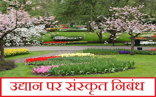 उद्यान पर संस्कृत निबंध। Sanskrit Essay on Garden