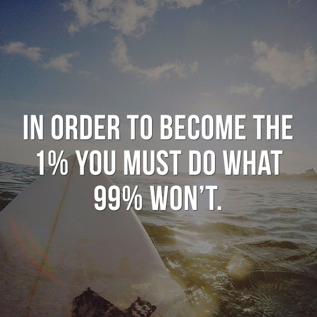 In order to become the 1%, you must do what 99% won't. - Motivational Quotes Images