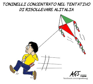toninelli, alitalia, nazionalizzazione, compagnia di bandiera, vignetta, satira