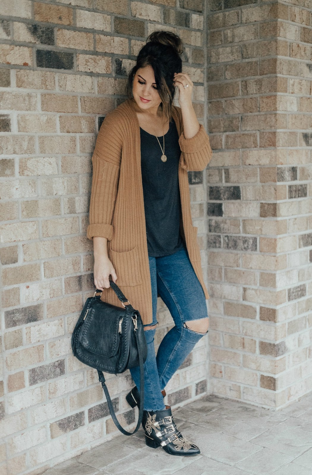life and messy hair, xo samantha brooke, samantha brooke, nc blogger, chloe studded bootie dupes