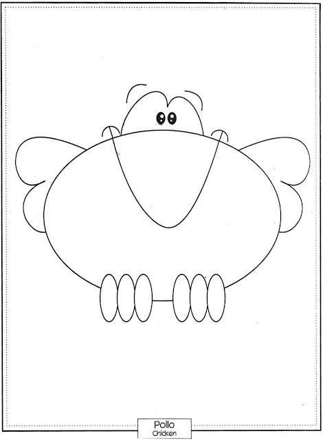 Desenho de Frango para pintar