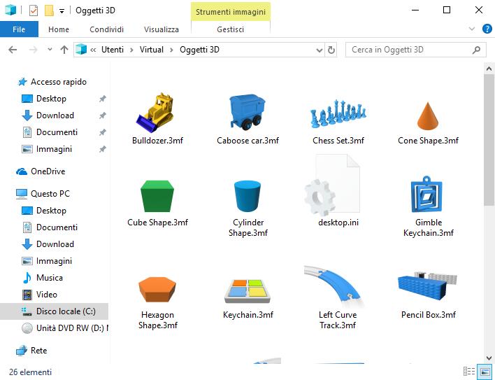 Windows 10, Cartella Oggetti 3D