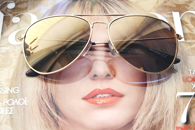 H&M gold frame mirrored aviator sunglasses